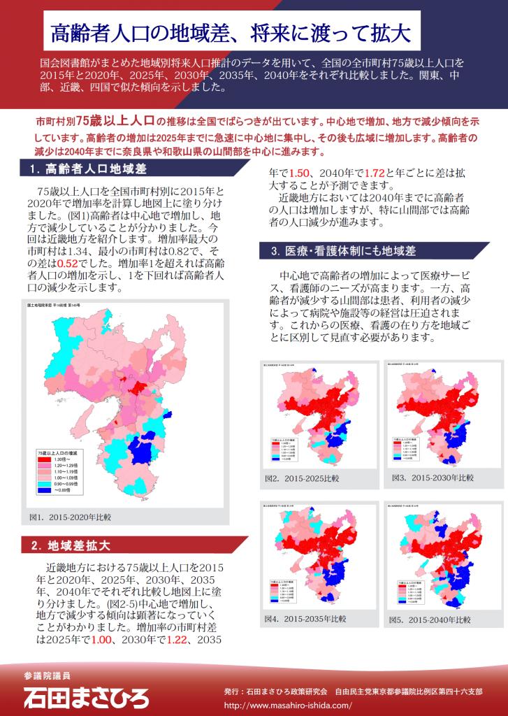 高齢者人口の地域差、将来に渡って拡大