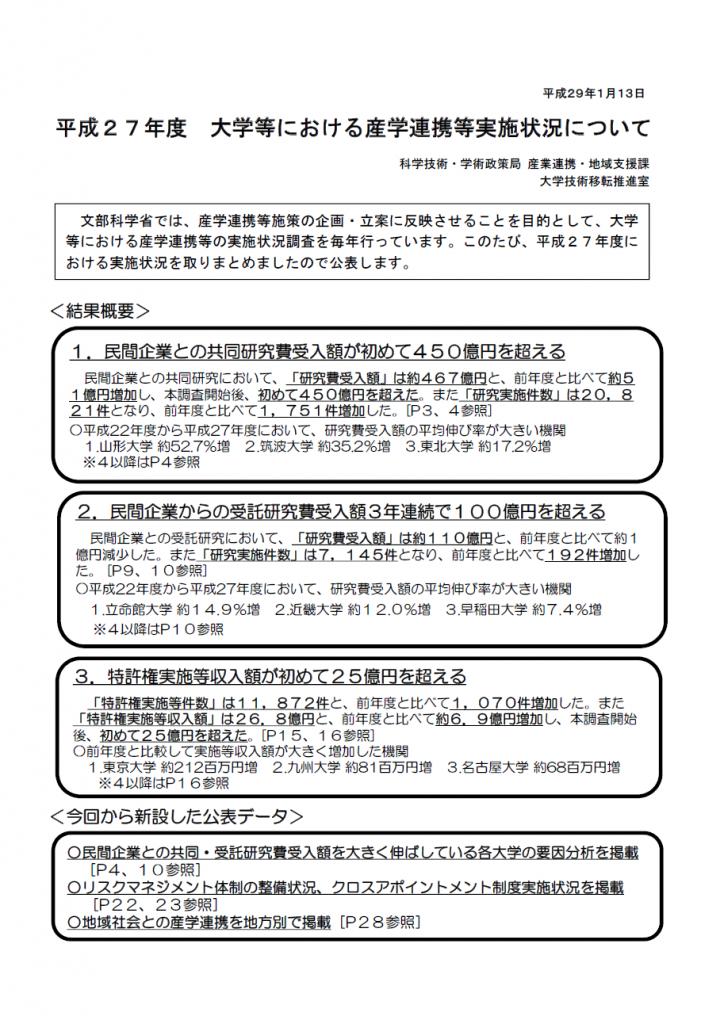 大学等における産学連携等実施状況