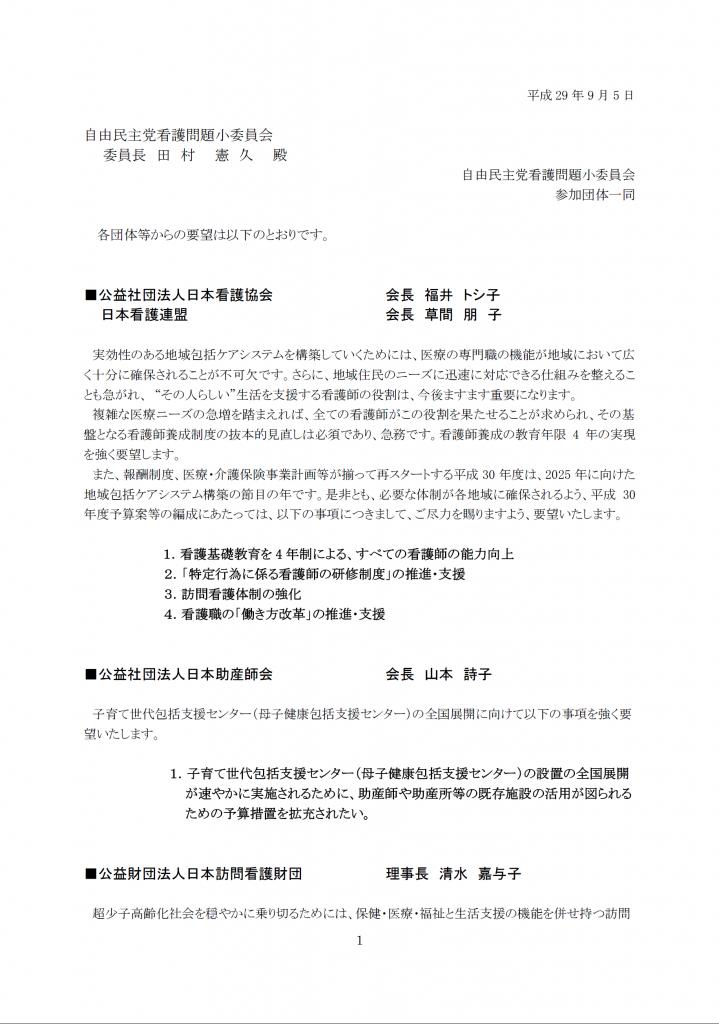 看護問題小委員会 看護関係団体からの要望書