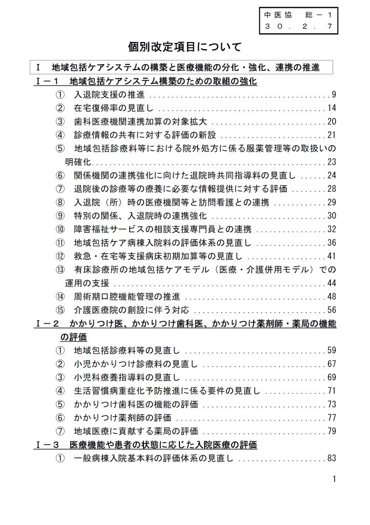 平成30年度診療報酬改定(点数発表)