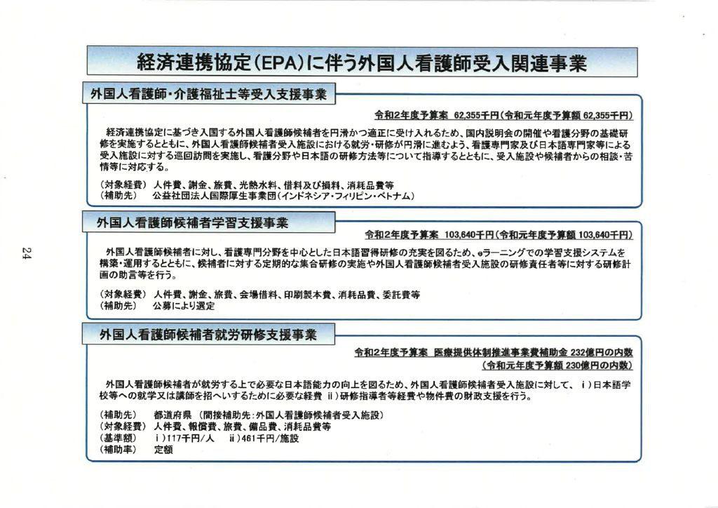 24経済連携協定(EPA)に伴う外国人看護師受入関連事業のサムネイル